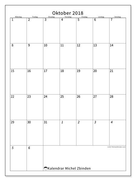 Kalender oktober 2018 (68MS). Gratis kalender att skriva ut.
