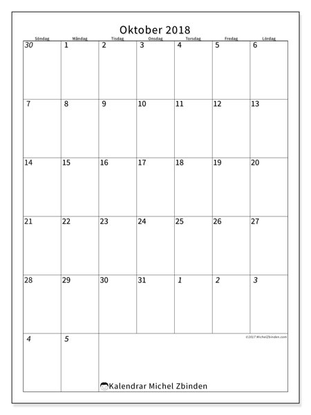 Kalender oktober 2018 (68SL). Kalender för året att skriva ut gratis.