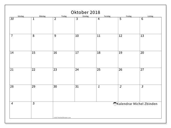 Kalender oktober 2018 (70SL). Månadskalender för att skriva ut gratis.