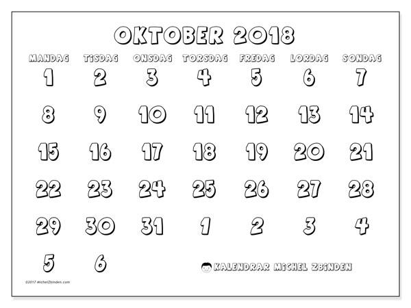 Kalender oktober 2018 (71MS). Gratis kalender att skriva ut.