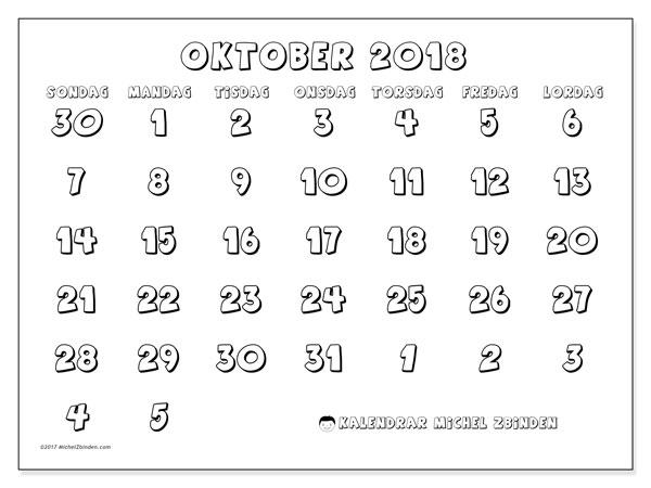 Kalender oktober 2018 (71SL). Almanak för att skriva ut gratis.