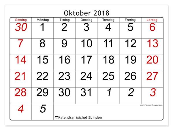 Kalender oktober 2018 (72SL). Gratis kalender att skriva ut.