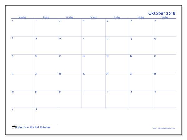 Kalender oktober 2018 (73MS). Månadskalender för att skriva ut gratis.