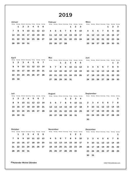 Kalender 2019, 33MS. Jahreskalender zum kostenlosen ausdrucken.