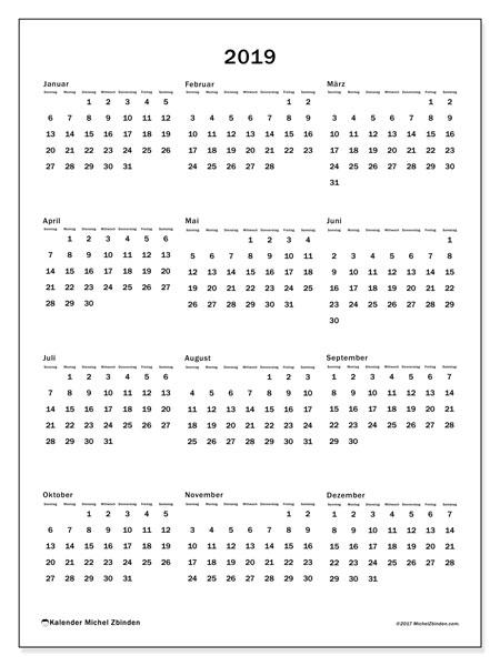 Kalender 2019 (33SS). Jahreskalender zum kostenlosen ausdrucken.