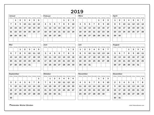 Kalender 2019, 34MS. Kostenlos ausdruckbare Kalender.