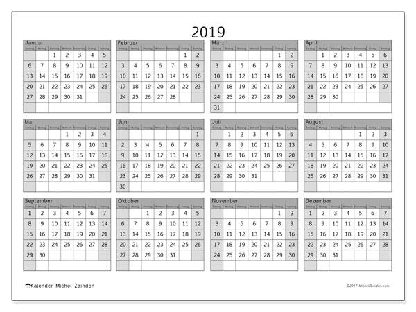 Kalender 2019, 35SS. Kalender zum kostenlosen ausdrucken.