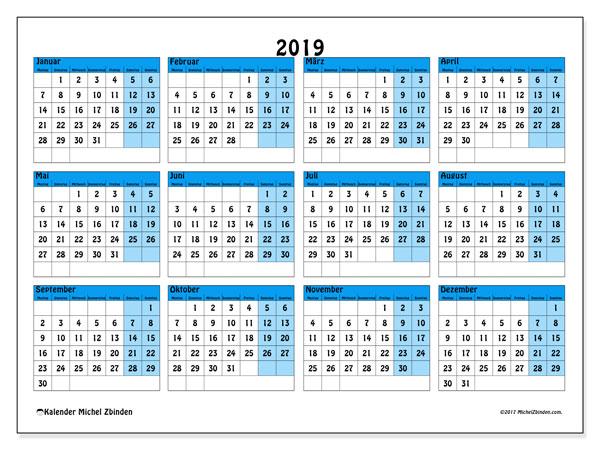Kalender 2019 (39MS). Kostenloser Kalender zum ausdrucken.