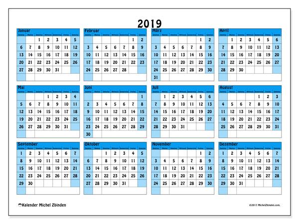Kalender 2019, 39SS. Jahreskalender zum kostenlosen ausdrucken.