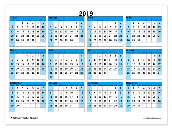 Kalender 2019, 39SS. Kostenlos ausdruckbare Kalender.