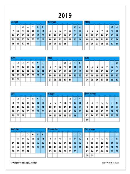 Kalender 2019 (40MS). Kalender zum kostenlosen ausdrucken.