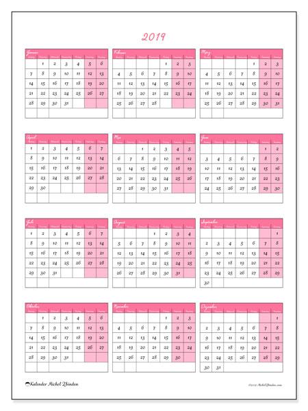 Kalender 2019 (42MS). Kalender zum kostenlosen ausdrucken.