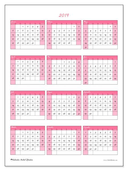 Kalender 2019 (42SS). Kalender für das Jahr zum kostenlosen ausdrucken.