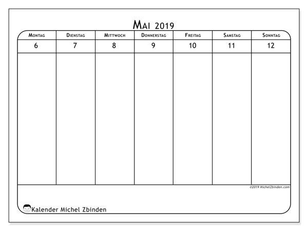 Kalender 2019, 43-19MS. Kostenloser Planer zum ausdrucken.