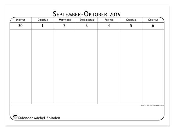 Kalender 2019, 43-40MS. Wochenplan zum kostenlosen ausdrucken.