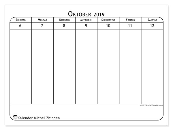 Kalender 2019, 43-41SS. Kostenlos ausdruckbare Zeitplan.