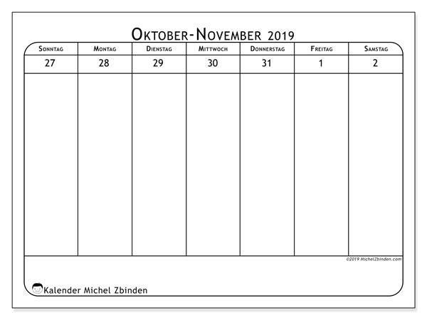 Kalender 2019, 43-44SS. Wöchentlicher Kalender zum kostenlosen ausdrucken.