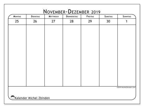 Kalender 2019, 43-48MS. Kostenloser Planer zum ausdrucken.