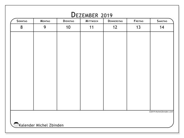 Kalender 2019, 43-50SS. Wöchentlicher Kalender zum kostenlosen ausdrucken.