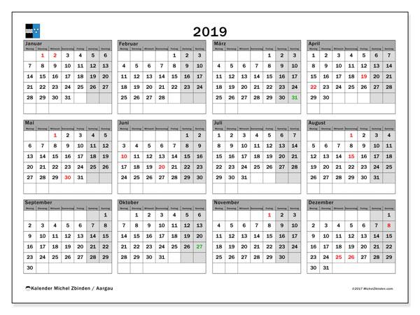 Kalender für 2019, , mit Feiertagen des Kantons Aargau. Kostenlos ausdruckbare Zeitplan.