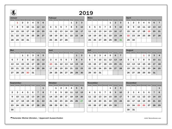 Kalender für 2019, , mit Feiertagen des Kantons Apenzell Ausserrhoden. Monatlicher Zeitplan zum kostenlosen ausdrucken.
