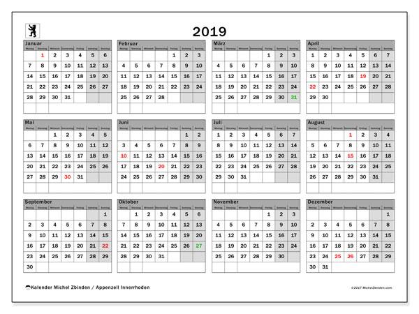 Kalender für 2019, , mit Feiertagen des Kantons Apenzell Innerrhoden. Kostenloser Planer zum ausdrucken.
