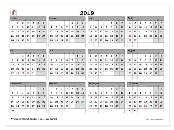 Kalender für 2019, , mit Feiertagen des Kantons Basel Landschaft. Monatlicher Zeitplan zum kostenlosen ausdrucken.