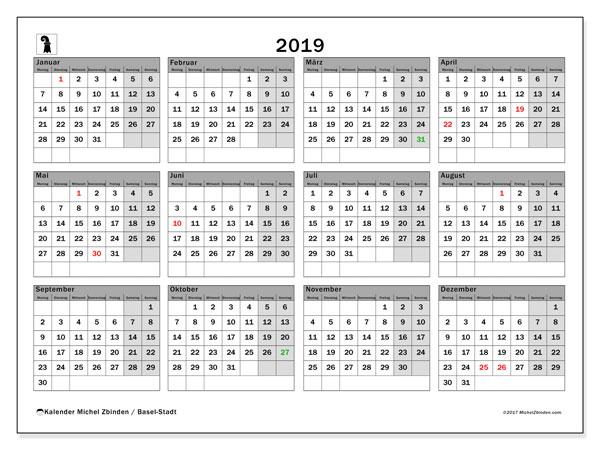 Kalender für 2019, , mit Feiertagen des Kantons Basel Stadt. Monatlicher Zeitplan zum kostenlosen ausdrucken.