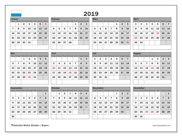 Kalender für 2019, mit Feiertagen Bayern. Monatlicher Zeitplan zum kostenlosen ausdrucken.