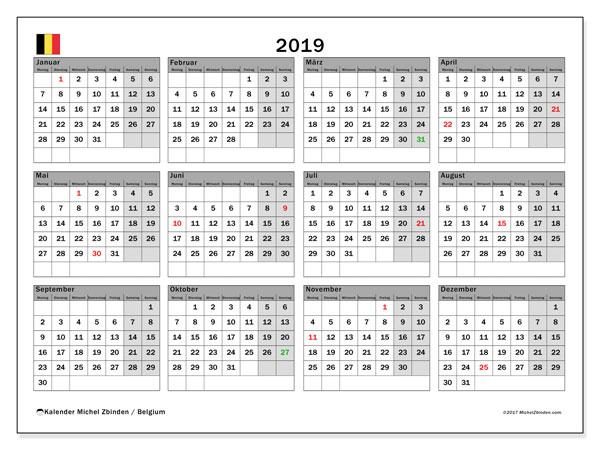 Kalender 2019, mit den Feiertagen von Belgien. Kalender Feiertage frei zum ausdrucken.