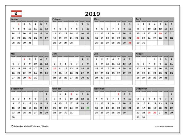 Kalender für 2019, mit Feiertagen Berlin. Kalender zum kostenlosen ausdrucken.