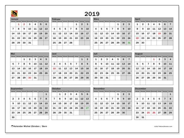 Kalender für 2019, , mit Feiertagen des Kantons Bern. Kostenloser Planer zum ausdrucken.