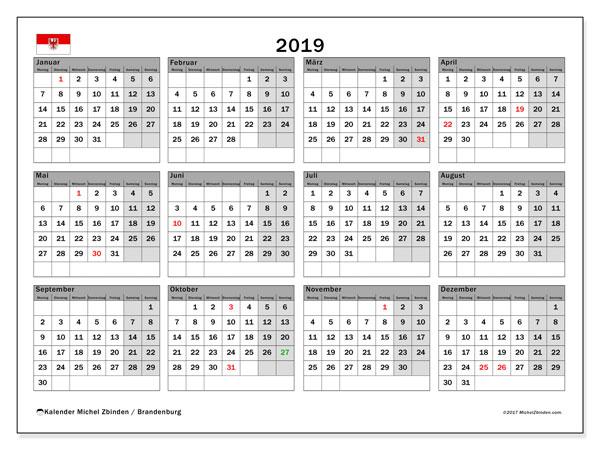 Kalender für 2019, mit Feiertagen Brandenburg. Kostenloser Kalender zum ausdrucken.