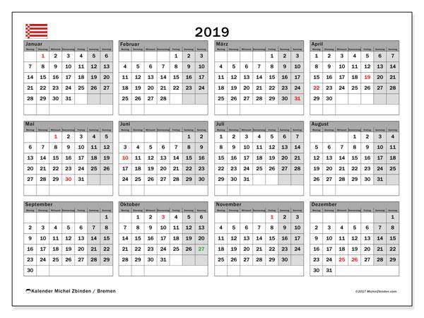 Kalender für 2019, mit Feiertagen Bremen. Monatskalender zum kostenlosen ausdrucken.