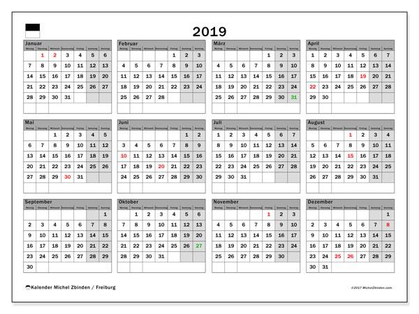 Kalender für 2019, mit Feiertagen des Kantons Freiburg. Kostenloser Kalender zum ausdrucken.