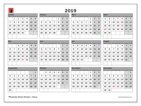 Kalender für 2019, mit Feiertagen des Kantons Glarus. Kostenloser Kalender zum ausdrucken.