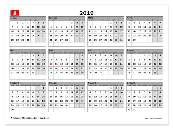 Kalender für 2019, mit Feiertagen Hamburg. Monatskalender zum kostenlosen ausdrucken.