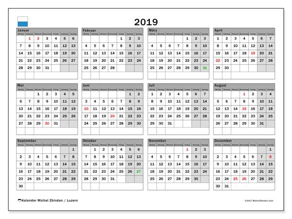 Kalender für 2019, , mit Feiertagen des Kantons Luzern. Kostenloser Zeitplan zum ausdrucken.