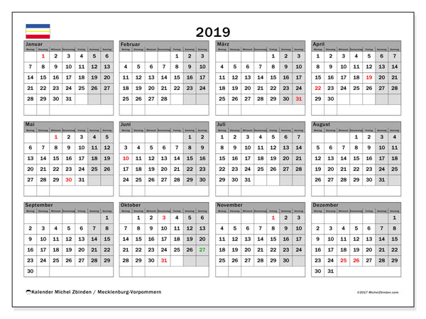 2019 Kalender  - Mecklenburg-Vorpommern. Kalender zum drucken: Offizielle Feiertage.