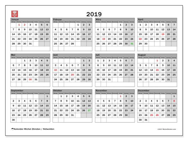 Kalender 2019, mit den Feiertagen des Kantons Nidwalden. Kalender Feiertage frei zum ausdrucken.