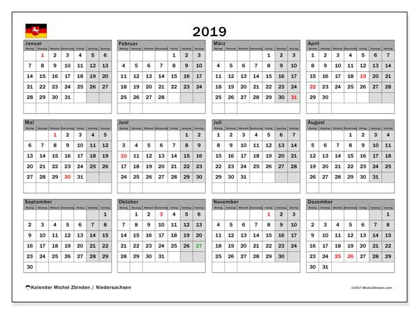 Kalender für 2019, mit Feiertagen Niedersachsen. Monatskalender zum kostenlosen ausdrucken.