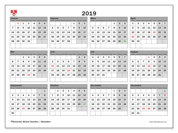 Kalender für 2019, , mit Feiertagen des Kantons Obwalden. Monatskalender zum kostenlosen ausdrucken.