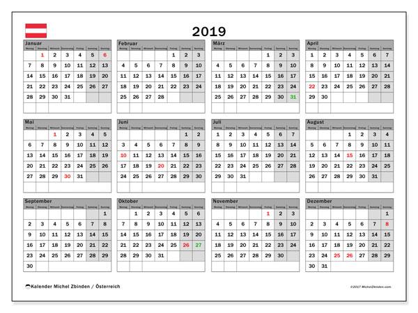 Kalender für 2019, mit Feiertagen in Österreich. Kostenloser Zeitplan zum ausdrucken.