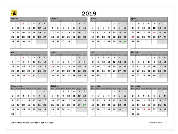 2019 Kalender  - Schaffhausen. Kalender zum drucken: Offizielle Feiertage.
