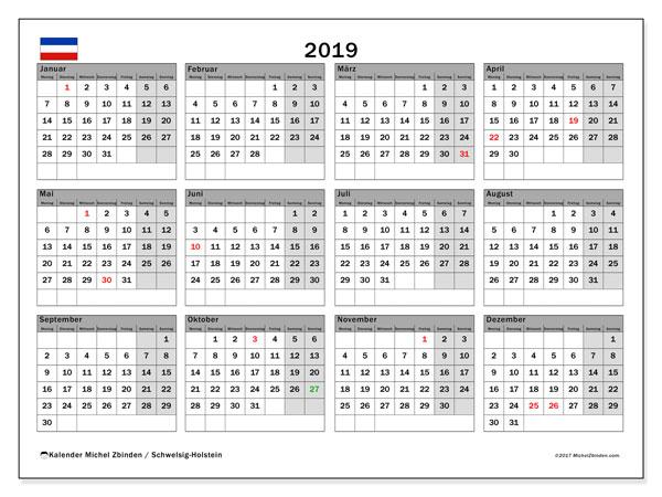 Kalender 2019, mit den Feiertagen in Schleswig-Holstein. Kalender Feiertage frei zum ausdrucken.