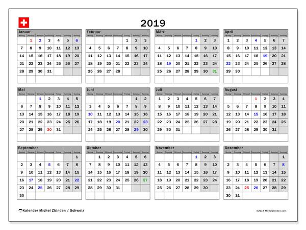 Kalender 2019, mit den Feiertagen der  Schweiz. Kalender Feiertage frei zum ausdrucken.