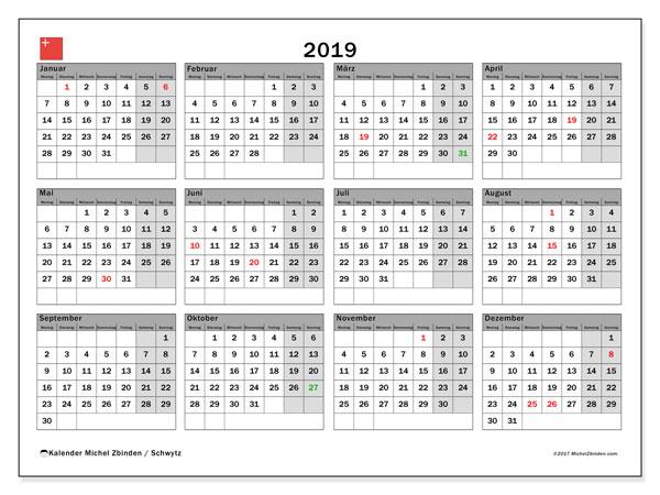Kalender für 2019, , mit Feiertagen des Kantons Schwytz. Kostenloser Planer zum ausdrucken.