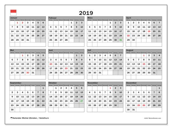 Kalender 2019, mit den Feiertagen des Kantons Solothurn. Kalender mit Feiertagen zum kostenlosen ausdrucken.
