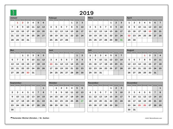 Kalender für 2019, mit Feiertagen des Kantons St. Gallen. Monatlicher Kalender zum kostenlosen ausdrucken.