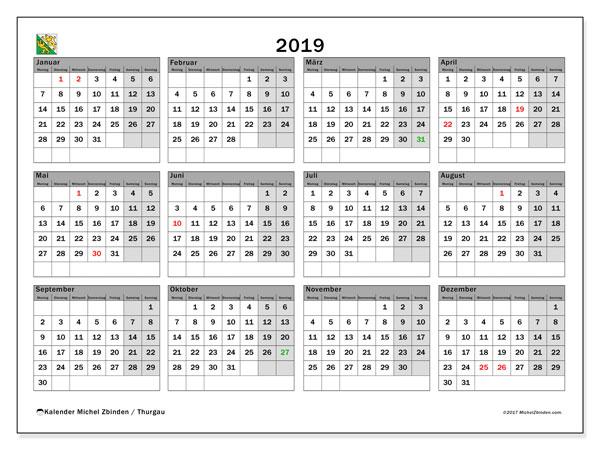 Kalender für 2019, , mit Feiertagen des Kantons Thurgau. Zeitplan zum kostenlosen ausdrucken.